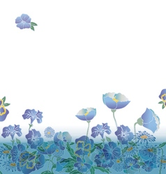 floral background with cute blue flowers vector image