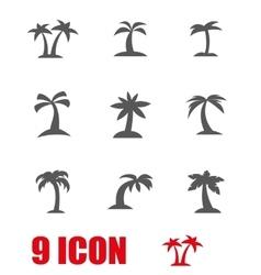 grey palm icon set vector image