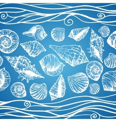 Hand drawn pattern with various seashells vector image