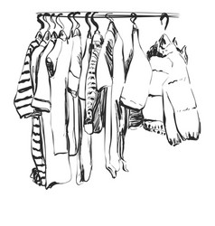 Hand drawn wardrobe sketch baby clothes on vector