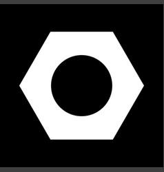 Hex nut white color icon vector