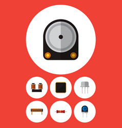 Icon flat appliance set of diode spool vector
