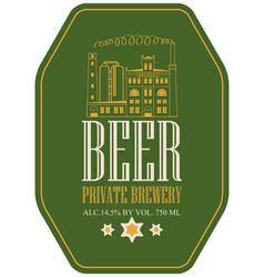 label for beer with image of brewery building vector image