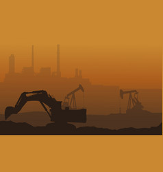 Many trash with pollution industry landscape vector