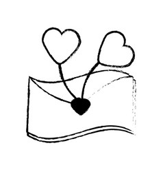 Message letter heart lovely sketch vector