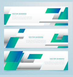 Modern blue business banners set with abstract vector