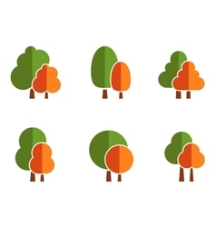 nature icons set with tree vector image