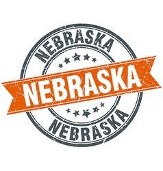Nebraska red round grunge vintage ribbon stamp vector