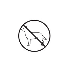no dog line iconprohibited sign graphics vector image vector image