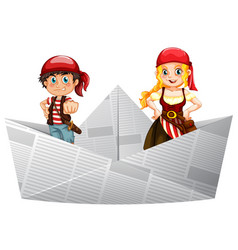 Pirate crews standing on paper boat vector