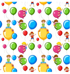 seamless template kids on colorful balloons vector image vector image