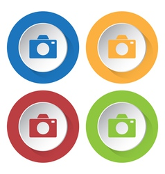 set of four colored icons with camera vector image vector image