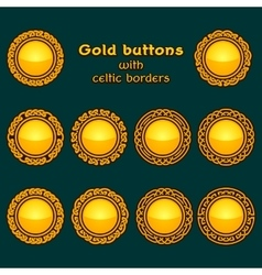 Set of ten golden celtic knotwork buttons vector