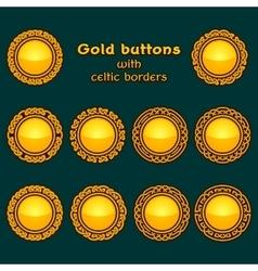 set of ten golden celtic knotwork buttons vector image
