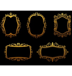 Set of vintage golden frames vector image vector image