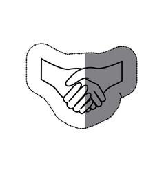 Sticker silhouette handshake agreement icon flat vector