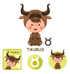 taurus collection zodiac signs vector image