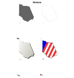 Ventura county california outline map set vector