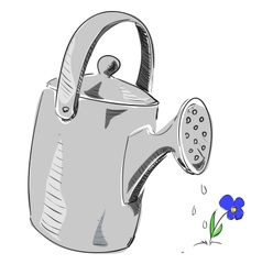 Watering can cartoon icon vector image
