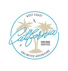 West coast california long beach t-shirt vector