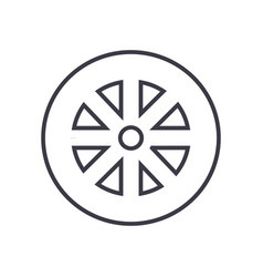 wheel line icon sign on vector image