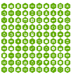 100 deposit icons hexagon green vector