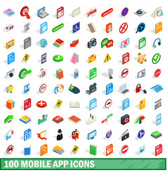 100 mobile app icons set isometric 3d style vector