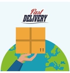 Hand planet box package delivery icon vector