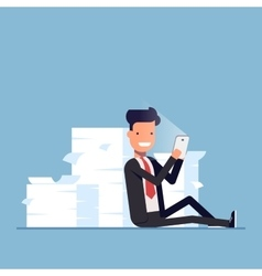 Businessman or manager sits behind a pile of vector image