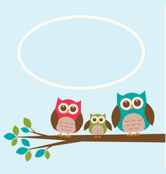 cute owl family on branch with place for text vector image