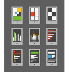 Tile mobile phone interface template collection vector
