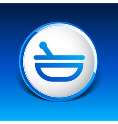 Mortar and pestle with blue tablets icon vector