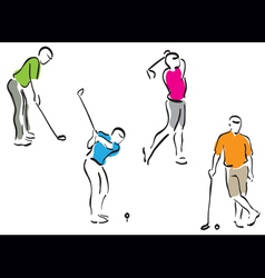 Golf men set vector
