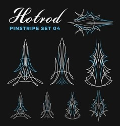 Set of vintage pin striping line art vector