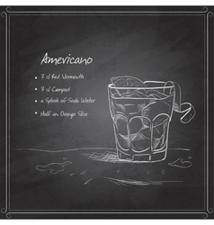 Coctail americano on black board vector