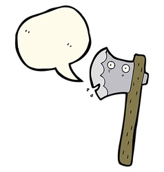 Cartoon axe with speech bubble vector