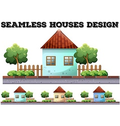 Seamless house design on the road vector