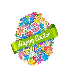 Easter symbol egg and spring flower2 vector