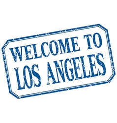 Los angeles - welcome blue vintage isolated label vector