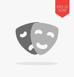 Comedy and tragedy masks icon theatre concept flat vector