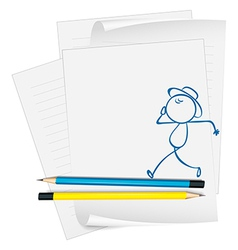 A paper with a drawing of a boy walking vector image