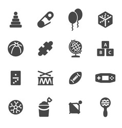 Black toys icons set vector