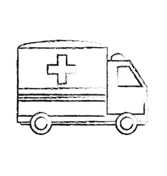 Blurred silhouette image cartoon ambulance truck vector