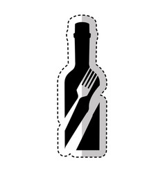 bottle with cutlery tool icon vector image