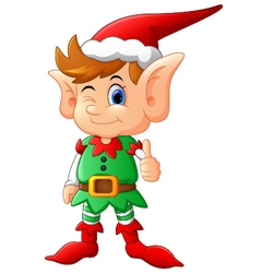 cartoon elf giving thumb up vector image vector image