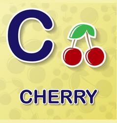 cherry alphabet background vector image vector image