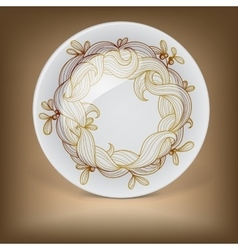 Christmas decorative plate with mistletoe vector