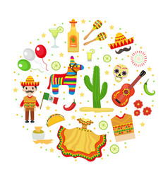 Cinco de mayo celebration in mexico icons set in vector
