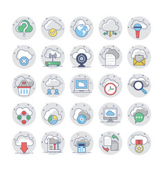Cloud computing flat colored icons 1 vector
