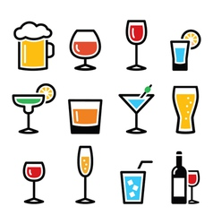 Drink colorful alcohol beverage icons set vector image vector image